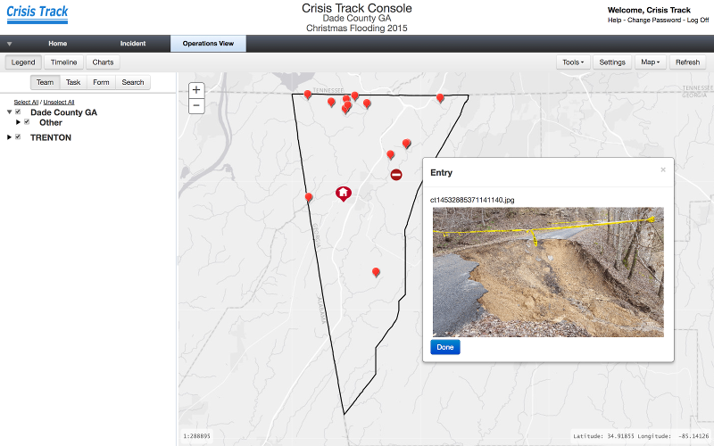 Operations view of Dade County, Georgia roads in Crisis Track